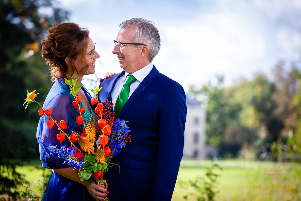 Bruidspaar bij Kasteel Broekhuizen